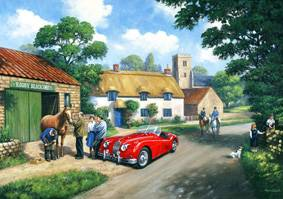 The Village Smithy (XK140) L/E Print, Jigsaw - Falcon U.K. - Nostalgia Collection #335